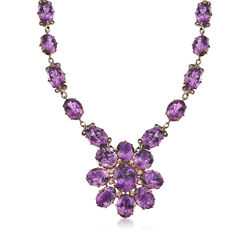 C. 1930 Vintage Amethyst and 2.00 ct. t.w. Diamond Floral Necklace in 15kt Yellow Gold, , default