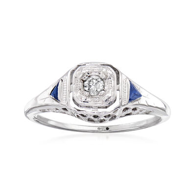 C. 1950 Vintage Diamond and Synthetic Sapphire-Accented Ring in 14kt White Gold