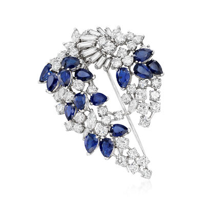 C. 1960 Vintage 8.00 ct. t.w. Sapphire and 7.75 ct. t.w. Diamond Pin in Platinum, , default