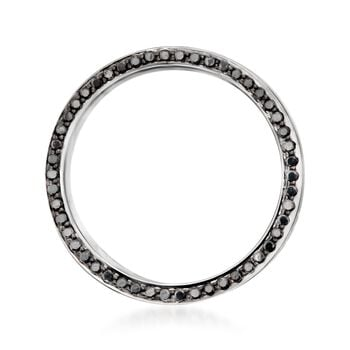 Henri Daussi Men's 8mm 14-Karat White Gold Band with .80 Carat Total Weight Black Diamonds. Size 10, , default