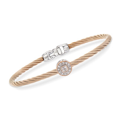 "ALOR ""Shades of Alor"" Carnation Stainless Steel Cable Bracelet with Diamond-Accented Station in 18kt White and Rose Gold"