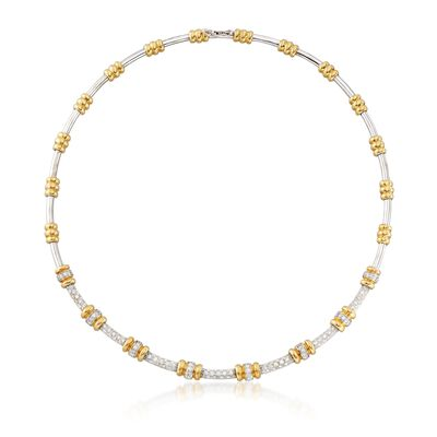 C. 1990 Vintage 2.65 ct. t.w. Diamond Round Link Station Necklace in 18kt Two-Tone Gold, , default