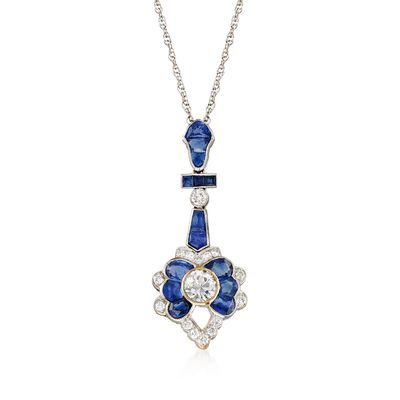 C. 2000 Vintage 2.15 ct. t.w. Sapphire and 1.00 ct. t.w. Diamond Pendant Necklace in 14kt and 18kt White Gold, , default