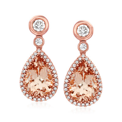 C. 1990 Vintage 3.10 ct. t.w. Morganite and .50 ct. t.w. Diamond Drop Earrings in 14kt Rose Gold