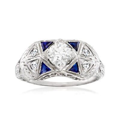 C. 1950 Vintage .58 ct. t.w. Diamond and .20 ct. t.w. Synthetic Sapphire Ring in 18kt White Gold
