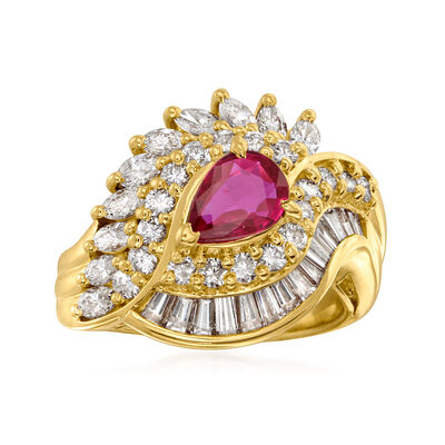 C. 1990 Vintage .66 Carat Ruby and 1.41 ct. t.w. Diamond Cluster Ring in 18kt Yellow Gold