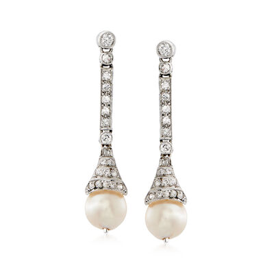 C. 1950 Vintage 7mm Cultured Pearl and .50 ct. t.w. Diamond Drop Earrings in 14kt White Gold, , default