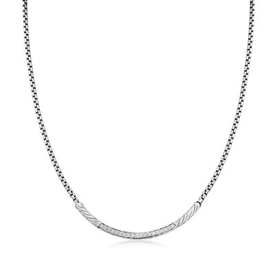 "ALOR ""Classique"" .16 ct. t.w. Diamond Stainless Steel Necklace with 14kt White Gold"