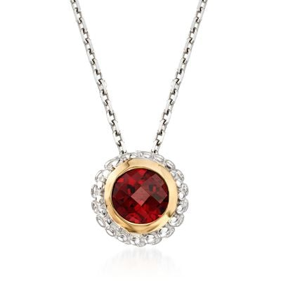 "Phillip Gavriel ""Popcorn"" .50 Carat Garnet Pendant Necklace in Sterling Silver and 18kt Gold"