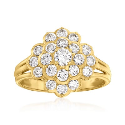 C. 1980 Vintage 1.00 ct. t.w. Diamond Cluster Ring in 18kt Yellow Gold