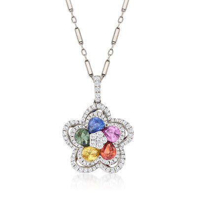 C. 1990 Vintage 1.90 ct. t.w. Multicolored Sapphire and .56 ct. t.w. Diamond Flower Pendant Necklace in 18kt and 14kt White Gold