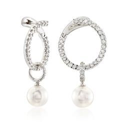 "Mikimoto ""Classic"" .45 ct. t.w. Diamond and 7mm A+ Akoya Pearl Open Swirl Drop Earrings in 18kt White Gold, , default"