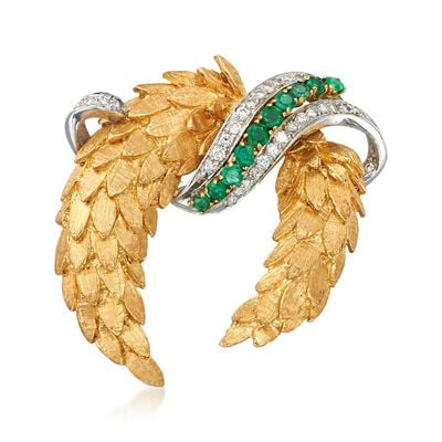 C. 1970 Vintage 1.00 ct. t.w. Emerald and .55 ct. t.w. Diamond Leaf Garland Pin in 18kt Yellow Gold, , default