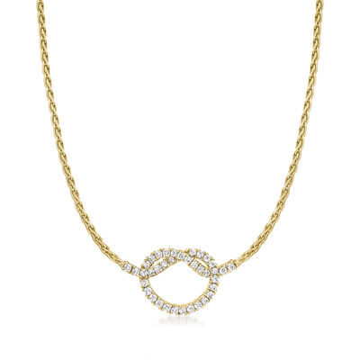 C. 1990 Vintage 2.60 ct. t.w. Diamond Knot Necklace in 14kt Yellow Gold
