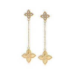 "Roberto Coin ""Princess Flower"" Diamond-Accented Drop Earrings in 18kt Yellow Gold, , default"