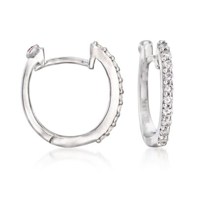 Roberto Coin .20 ct. t.w. Diamond Huggie Hoop Earrings in 18kt White Gold