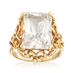 C. 1990 Vintage 8.30 Carat White Topaz Rectangle Ring in 10kt Yellow Gold , , default