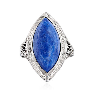 C. 1950 Vintage Lapis Navette Ring in 14kt White Gold, , default
