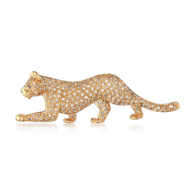 C. 1990 Vintage .56 ct. t.w. Diamond Panther Pin in 14kt Yellow Gold, , default