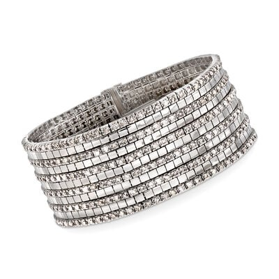 C. 1980 Vintage 9.00 ct. t.w. Diamond Multi-Row Bracelet in 18kt White Gold