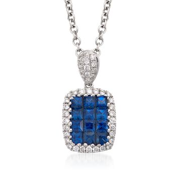 "Gregg Ruth .71 Carat Total Weight Sapphire and Diamond Necklace in 18-Karat White Gold. 16"", , default"