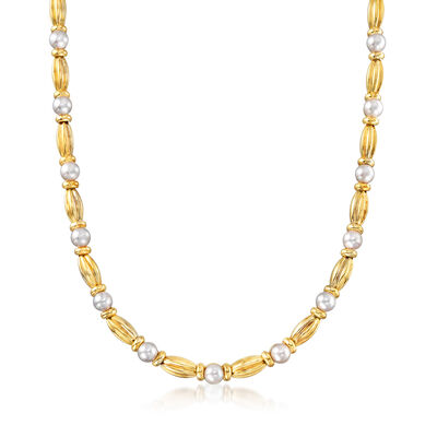 C. 1980 Vintage Tiffany Jewelry 6.5mm Cultured Pearl Station Necklace in 18kt Yellow Gold, , default