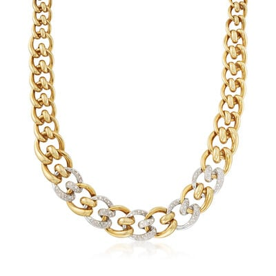C. 1980 Vintage 2.50 ct. t.w. Diamond Tapered Link Necklace in 18kt Two-Tone Gold, , default