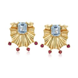 C. 1940 Vintage 2.73 ct. t.w. Aquamarine and .30 ct. t.w. Ruby Earrings in 14kt Two-Tone Gold, , default
