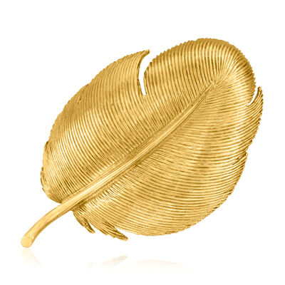 C. 1970 Vintage Tiffany Jewelry 18kt Yellow Gold Feather Pin