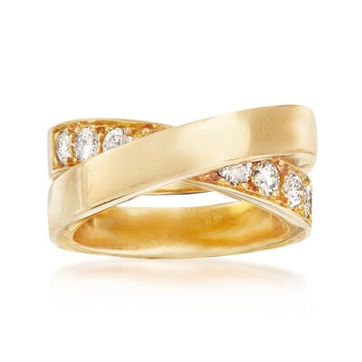 C. 1999 Vintage Cartier 1.00 ct. t.w. Diamond Crisscross Ring in 18kt Yellow Gold