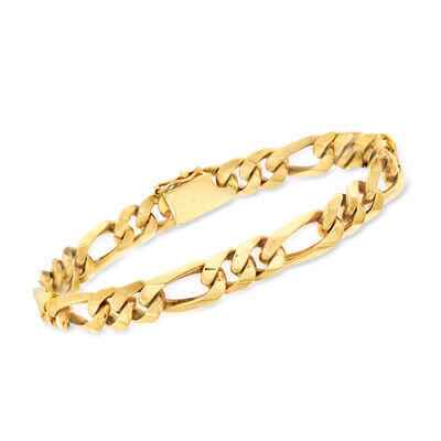 C. 1990 Vintage Men's 18kt Yellow Gold Figaro-Link Bracelet, , default