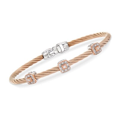 "ALOR ""Shades of Alor"" Carnation Stainless Steel Cable Bracelet with .14 ct. t.w. Diamond Stations in 18kt White and Rose Gold"