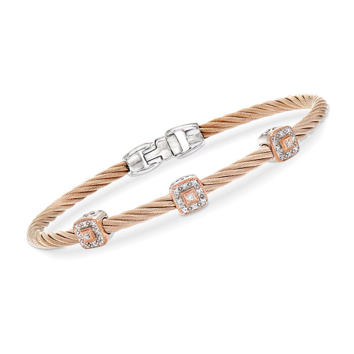 """ALOR """"Shades of Alor"""" .14 ct. t.w. Diamond Blush Carnation Cable Station Bracelet in Stainless Steel and 18kt White and Rose Gold. 7"""""""