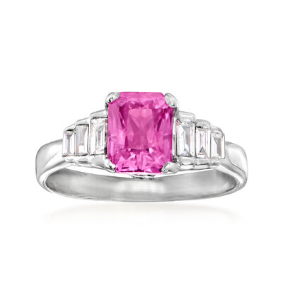C. 1980 Vintage 1.69 Carat Pink Sapphire and .33 ct. t.w. Diamond Ring in 14kt White Gold