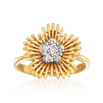 Simon G. .22 ct. t.w. Diamond Flower Ring in 18kt Yellow Gold