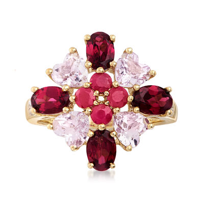 C. 2000 Vintage 4.40 ct. t.w. Multi-Gemstone Cluster Ring in 14kt Yellow Gold, , default