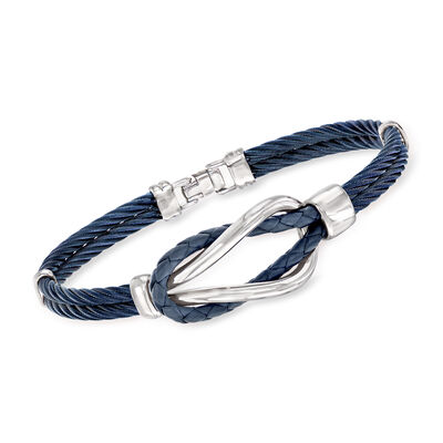 ALOR Men's Blue Leather and Stainless Steel Cable Knot Bracelet