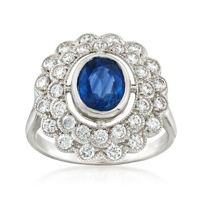 C. 1980 Vintage 1.50 Carat Sapphire and 1.00 ct. t.w. Diamond Ring in 18kt White Gold