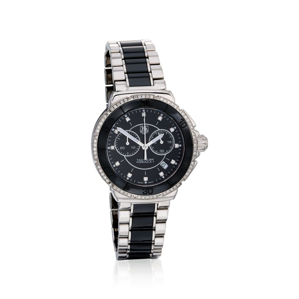 5156a968530 TAG Heuer Formula 1.53 Carat Total Weight Diamond Women's Watch in Stainless  Steel and Black Ceramic