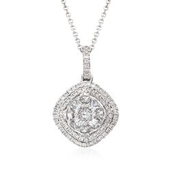 Simon G. .67 ct. t.w. Diamond Halo Pendant Necklace in 18kt White Gold, , default