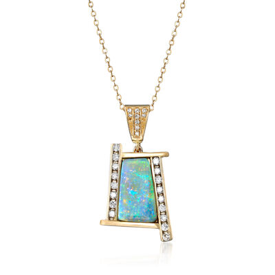 C. 1980 Vintage 15x8mm Opal and .60 ct. t.w. Diamond Pendant Necklace in 14kt Yellow Gold, , default
