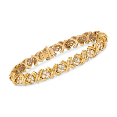 "C. 1980 Vintage Tiffany Jewelry 2.50 ct. t.w. Diamond ""X"" Bracelet in 18kt Yellow Gold, , default"