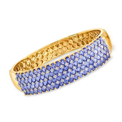 C. 1980 Vintage 17.60 ct. t.w. Tanzanite and .85 ct. t.w. Diamond Bangle Bracelet in 18kt Yellow Gold, , default