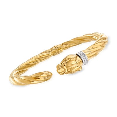 "Phillip Gavriel ""Italian Cable"" Panther Cuff Bracelet with Diamond Accents in 14kt Yellow Gold"