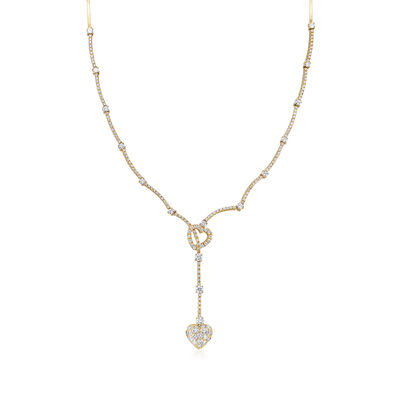 C. 1990 Vintage 3.00 ct. t.w. Diamond Double-Heart Lariat Drop Necklace in 14kt Yellow Gold, , default