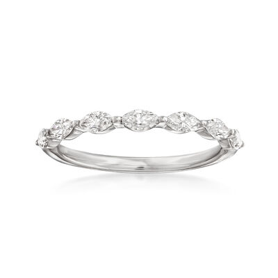 Henri Daussi .49 ct. t.w. Diamond Marquise Wedding Ring in 14kt White Gold