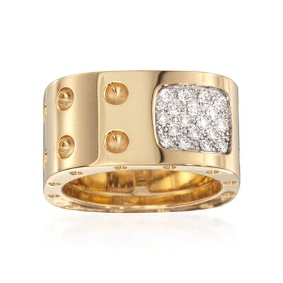 "Roberto Coin ""Pois-Moi"" .28 ct. t.w. Diamond Square Ring in 18kt Yellow Gold, , default"