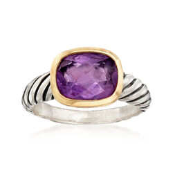 C. 2000 David Yurman Amethyst Ring in Sterling Silver With 18kt Yellow Gold, , default