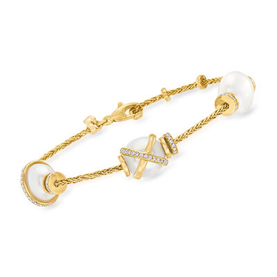 """C. 1990 Vintage Fred """"Baie Des Anges"""" 10x11mm Cultured Pearl and .46 ct. t.w. Diamond Bracelet in 18kt Yellow Gold"""