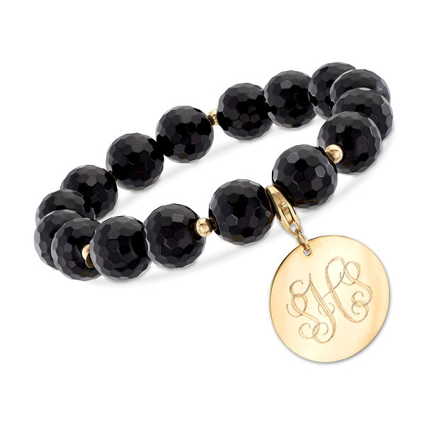 Black Onyx Bead Stretch Bracelet with 14kt Yellow Gold Personalized Disc #902184